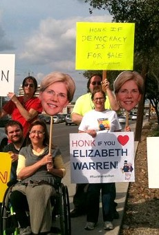 """""""We waved and they honked, spreading the love for Elizabeth Warren in San Antonio,"""" Glenda Wolin tweeted from her profile @aviddem2016 on Saturday."""