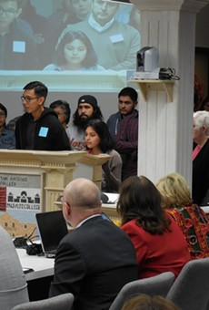 During a March Board of Trustees meeting, members of the Alamo Colleges Student Leadership Coalition called on Chancellor Bruce Leslie to resign.