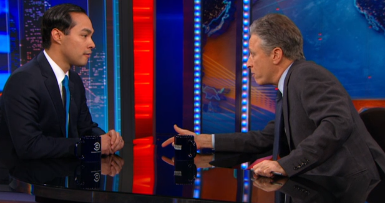 Secretary of Housing and Urban Development Julián Castro chat with John Stewart, host of The Daily Show. - COURTESY
