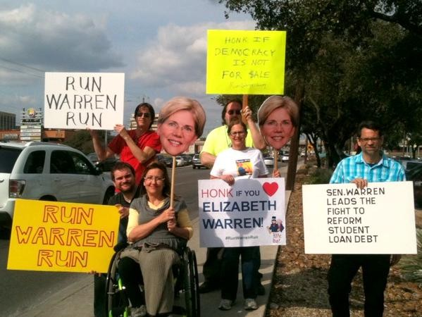 """We waved and they honked, spreading the love for Elizabeth Warren in San Antonio,"" Glenda Wolin tweeted from her profile @aviddem2016 on Saturday. - GLENDA WOLIN"
