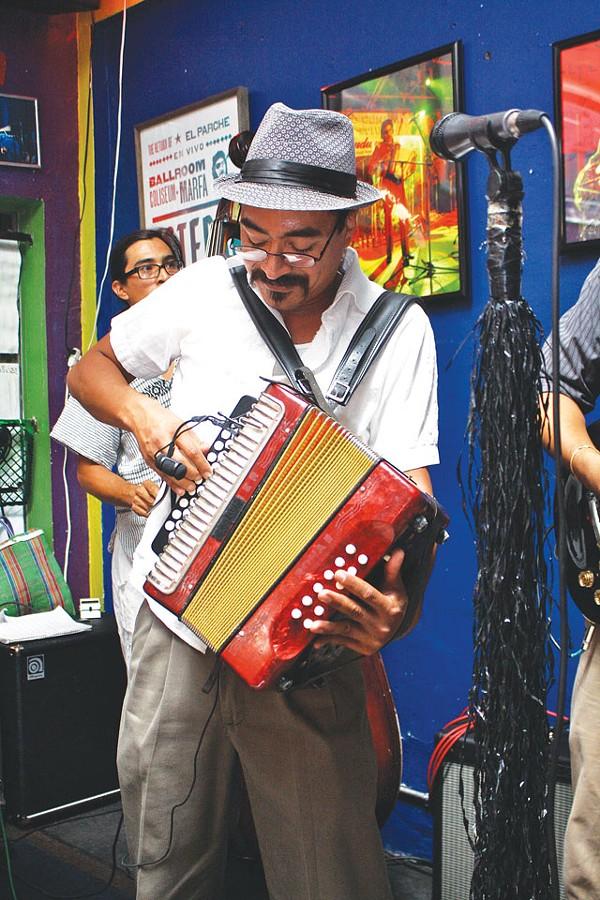 Nico Valdez's magic accordion, last Friday at Saluté.. - VERONICA LUNA