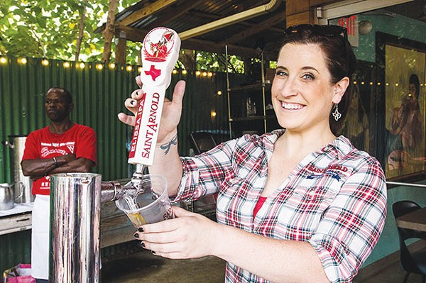 Nicole George rassles up St. Arnold's Elissa IPA - COURTESY PHOTO