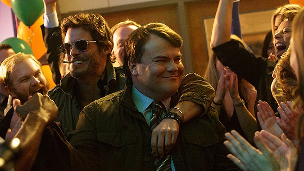 Odd couple: James Marsden and Jack Black bromancing aboard The D Train. - COURTESY