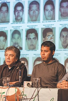 Omar Garcia (left, in the middle) survived a mass kidnapping last year in rural southern Mexico, but his colleagues may not have. Garcia's taking the case to an international court in DC.