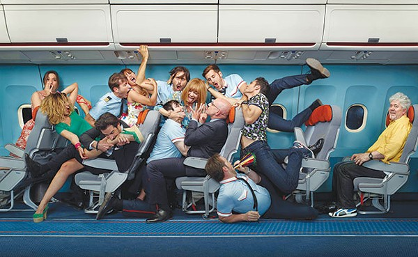 Passenger and crew on the verge of a nervous breakdown, while Almodóvar (right) enjoys himself - COURTESY PHOTO