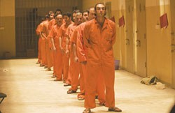 Prisoners line up in Errol Morris's Standard Operating Procedure.