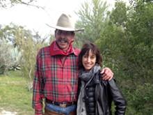 Rancher Richard Bennett with artist Kim Beck at the Botanical Garden - COURTESY