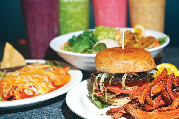 Real Deal Enchiladas, Protein Salad, Portabella Burger, and a smoothie rainbow from Green. - STEVEN GILMORE