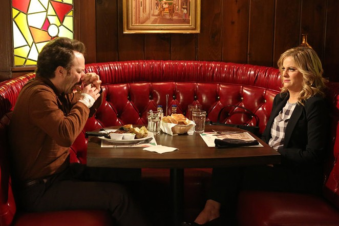 Ron Swanson (Nick Offerman) and Leslie Knope (Amy Poehler) from the season 7 premiere of Parks and Recreation - COURTESY NBC