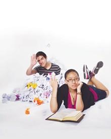 JOSH HUSKIN - Rising young poets: Nathan Zertuche and Ariana Brown.