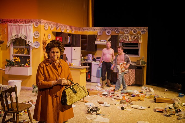 Rita Crosby, Andrew Thornton and Rick Frederick in AtticRep's production of True West - SIGGI RAGNAR