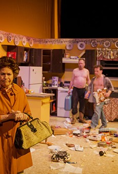 Rita Crosby, Andrew Thornton and Rick Frederick in AtticRep's production of True West