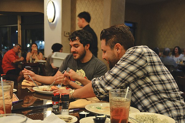 SA Reddit foodie members, including Derek Marc (right), gathered at Pasha last week for their monthly outing. - JESSICA ELIZARRARAS