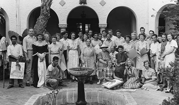 San Antonio Art Institute students and instructors at Sunset Hills circa 1947-1948 - COURTESY