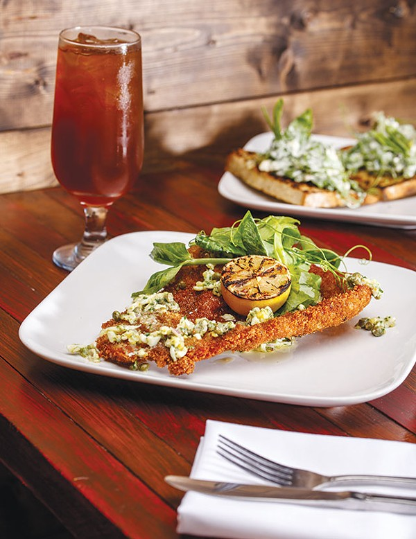 Schnitzel, capers, greens, yum - CASEY HOWELL