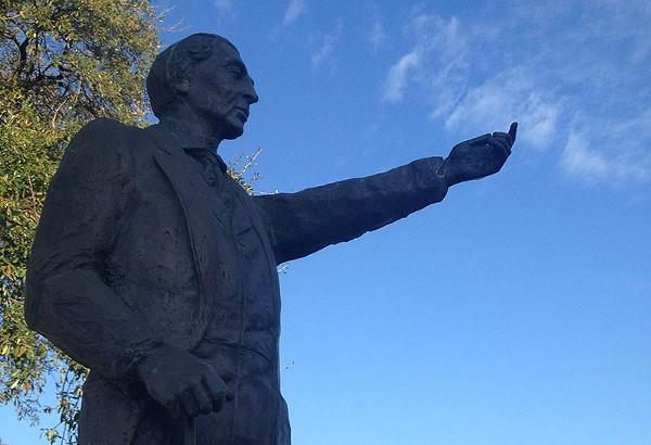 Sculptor Jonas Perkins' statue of José Antonio Navarro stands across the street from Casa Navarro in San Antonio. - COURTESY