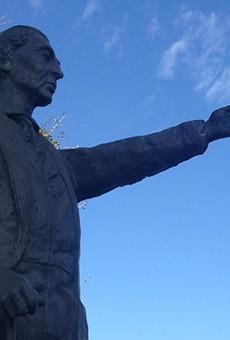 Sculptor Jonas Perkins' statue of José Antonio Navarro stands across the street from Casa Navarro in San Antonio.