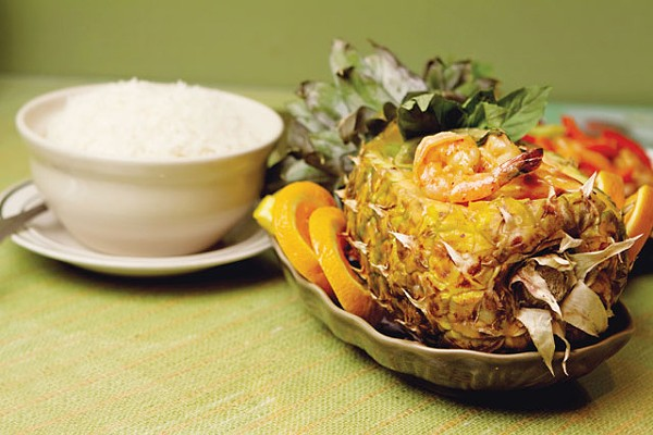 Shrimp curry served in a pineapple from Sawasdee Thai Cuisine. - JOSH HUSKIN