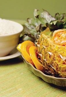 Shrimp curry served in a pineapple from Sawasdee Thai Cuisine.