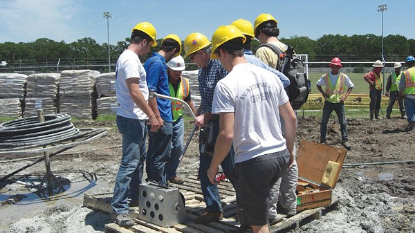 Students and staff of Southern Methodist University's Geothermal Lab log temperatures at a well site outside Corpus Christi. - COURTESY PHOTO