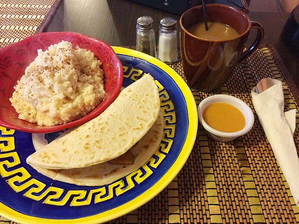 The atole de arroz and breakfast tacos are a winsome pair - JESSICA ELIZARRARAS