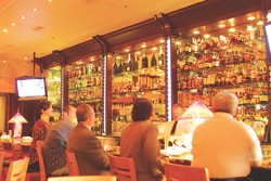The bar, and humidor, are fully stocked at Kirby's Steakhouse