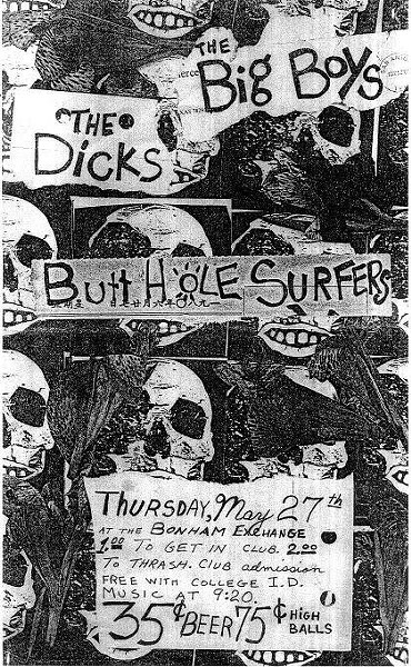The Butthole Surfers flyer for a gig at the Bonham Exchange in 1982.