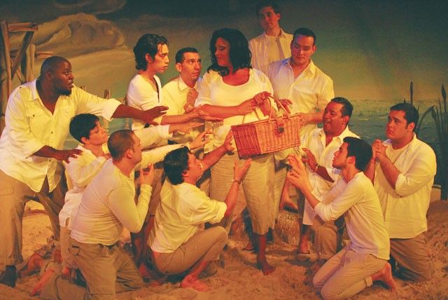 The cast of Corpus Christi, playing at San Pedro Playhouse. - SARAH MASPERO