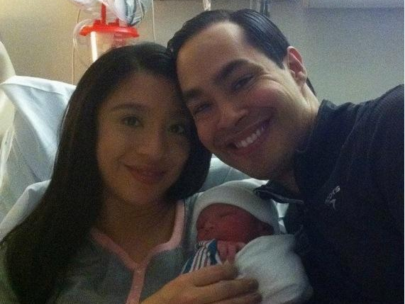 HUD Secretary Julián Castro and his wife Erica Castro with their newborn son Christian. - TWITTER