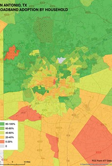The map reveals disparities in internet access along socio-economic and geographical lines