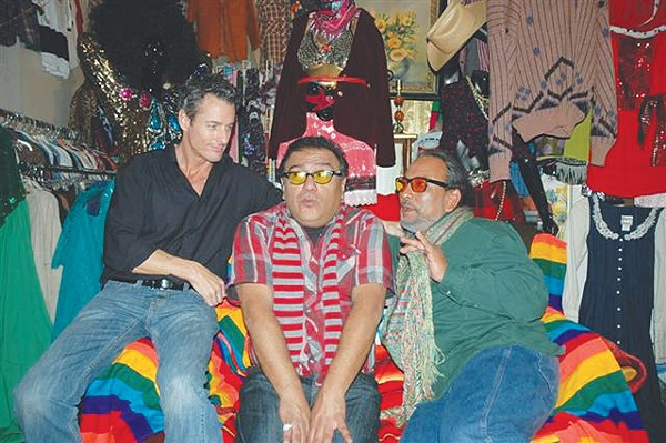 The real Agosto Cuéllar, flanked by actors Michael Sorrells and Theo Gutiérrez