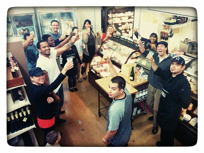 The staff celebrates the announcement of The Texas Cheese Cellar. - COURTESY GAUCHOGOURMET