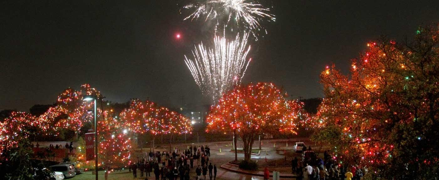 The UIW campus, illuminated by nearly a million Christmas lights. - COURTESY