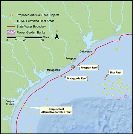 This map shows three artificial reef projects that just got an influx of funding, which derived as compensation for lost resources during the BP Deepwater Horizon oil spill. - TEXAS PARKS AND WILDLIFE DEPARTMENT