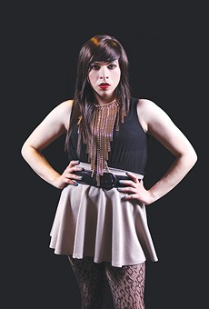 Toni Sauceda in character as Janie la Transie for the play 'Jotos del Barrio'