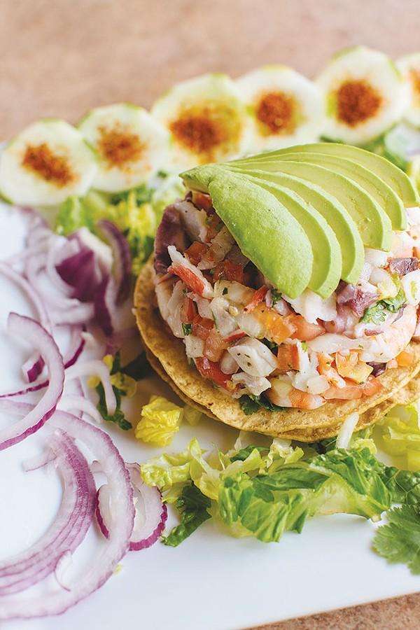 Tostada Mixta with Ceviche