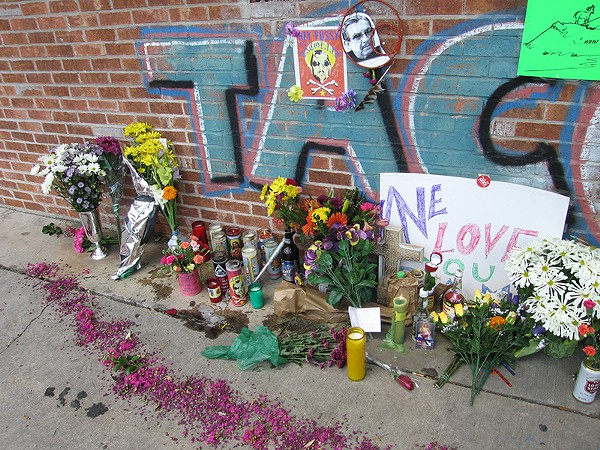 A makeshift memorial for Ram Ayala was set up outside Taco Land after his murder in 2005. - JUSTIN PARR