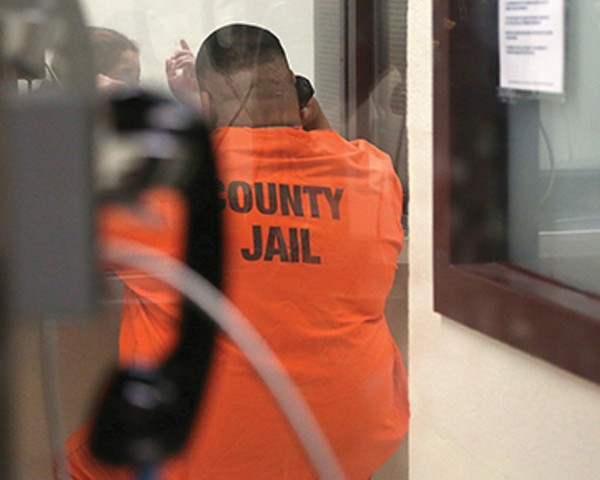 The Bexar County jail fills up with visitors who wait as many as eight hours to see inmates. - COURTESY