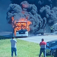 Charter Bus Returning to San Antonio Catches Fire on Highway 281