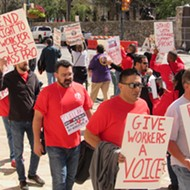 Union Protests Outside Cuellar's San Antonio Office Over His Vote Against Pro-Labor Bill