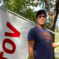 San Antonio visual artist pounds the pavement in Superman T-shirt to get out the vote
