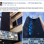 "Ticket Serving ""Trump Shots,"" Takes Down ""Protest Less, Drink More"" Sign"