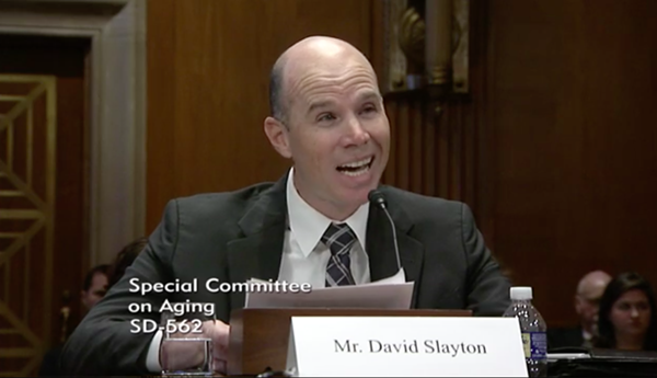 David Slayton testifies in front of the Senate Special Committee on Aging. - VIA THE U.S. SENATE'S WEBSITE