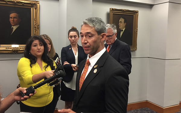 Mayor Ron Nirenberg addresses reporters after Council's meeting on the 2020 Republican National Convention. - SANFORD NOWLIN