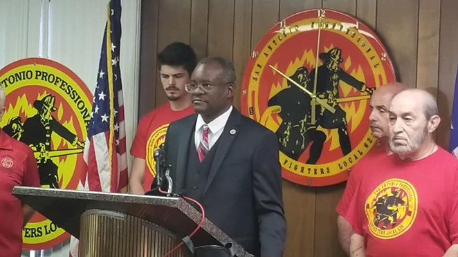 Chris Steele announcing the fire union's petition campaign on Feburary 20 - FACEBOOK VIA SAN ANTONIO PROFESSIONAL FIRE FIGHTERS ASSOCIATION