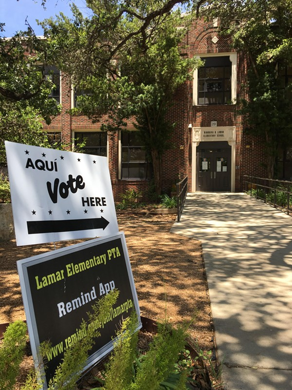 Lamar Elementary School is one of hundreds of voting sites across Bexar County for Tuesday's Democrat and Republican primary runoff elections. - MEGAN RODRIGUEZ