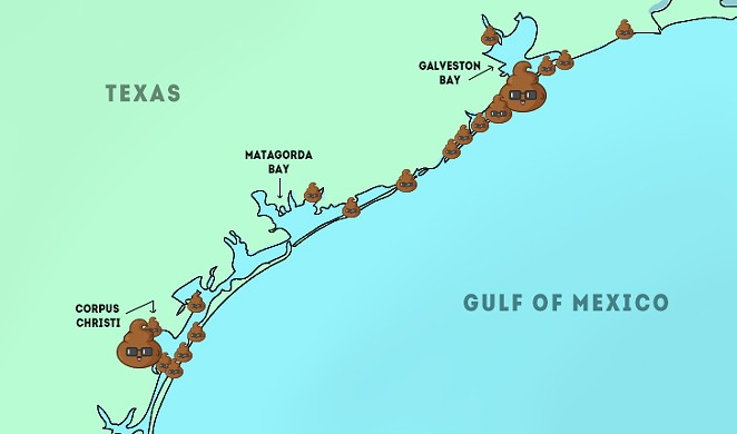 "Map represents ""medium"" and ""high"" levels of bacteria along the coast. - SOURCE: GENERAL LAND OFFICE, ART BY SARAH FLOOD-BAUMANN"