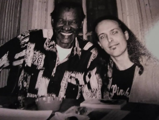 Monte Adams (right) poses for a photo with legendary blues guitarist Gatemouth Brown. - VIA GEORGE BRISCOE'S FACEBOOK PAGE