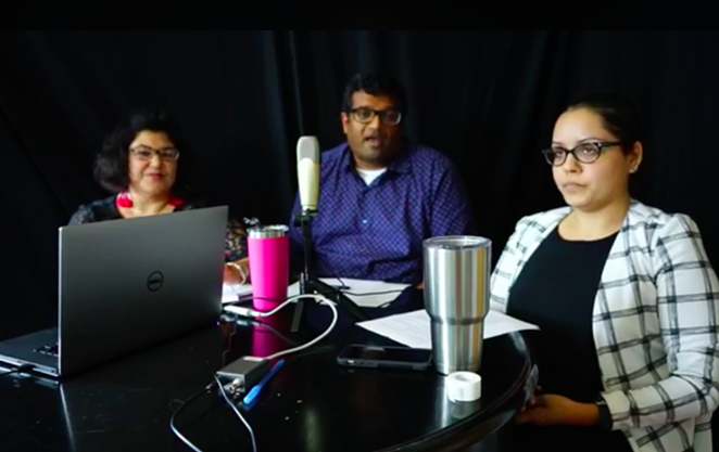 RAICES Director of Family Detention Manoj Govindaiah (center), flanked by two other officials with the nonprofit, discuss the millions of donations that have flowed in. - VIA RAICES'S FACEBOOK PAGE