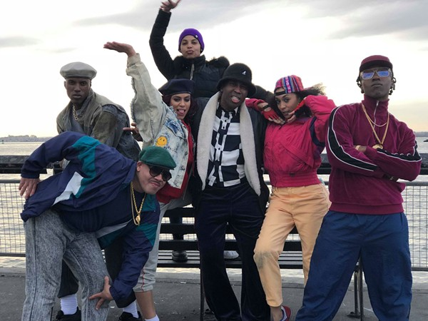 Karma, far left in grey beret, alongside vogue extras for Pose. - COURTESY